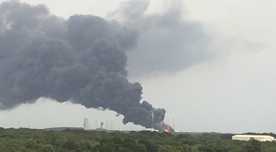 an eyewitness sent spacenews this photo of smoke billowing over a launch pad at cape canaveral