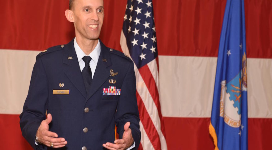 Lt. Col. Scott Putnam, 18th Space Control Squadron commander, addresses members in attendance during an assumption of command ceremony, July 22, 2016, Vandenberg Air Force Base, Calif. Putnam assumed command of the 18th SPCS, the newest space surveillance unit that will fall under the 21st Space Wing. (U.S. Air Force photo by Airman 1st Class Robert J. Volio)