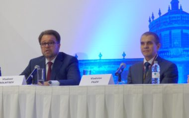 RSC Energia's Vladimir Solntsev (left) and S7 Group's Vladislav Filev discuss the Sea Launch deal during a Sept. 27 press conference at the IAC. Credit: SpaceNews/Jeff Foust