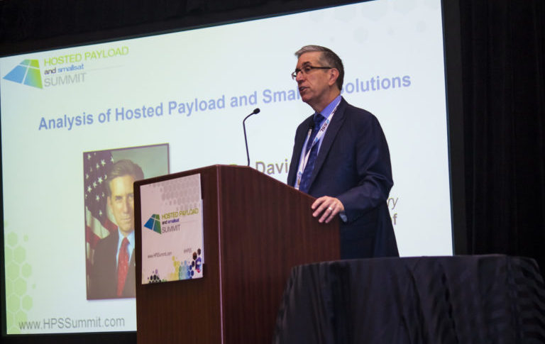 David Hardy, U.S. Air Force associate deputy under secretary for space, speaking Oct. 20 at the Hosted Payload Summit in Washington. Photo: U.S. Air Force