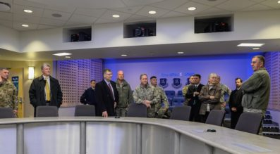The heads of U.S. Strategic Command and Air Force Space Command were among the military leaders who visited the recently established Joint Interagency Combined Space Operatioins Center at Schriever Air Force Base in Colorado in January. Credit:  Air Force/Christopher DeWitt