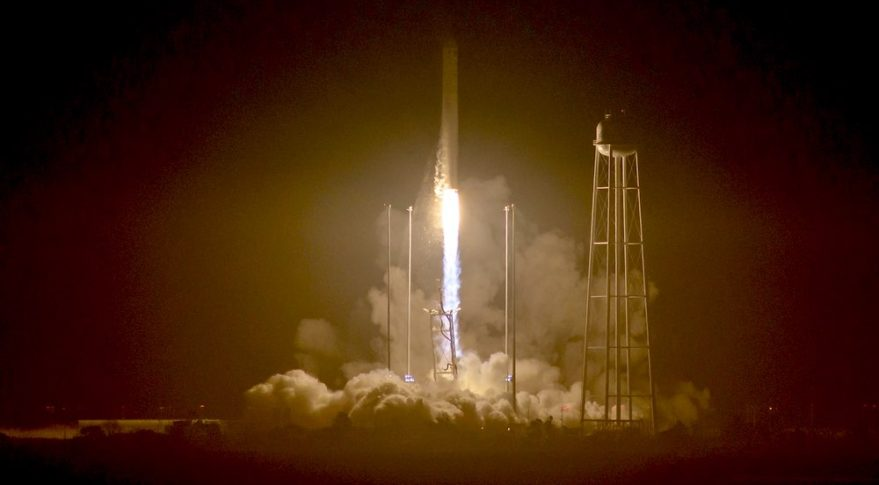 An Orbital ATK Antares rocket lifts off from Wallops Island, Virginia, Oct. 17, carrying a Cygnus cargo spacecraft bound for the ISS. Credit: NASA/Bill Ingalls