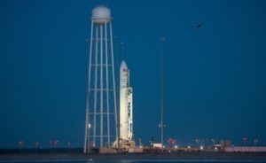 An Antares rocket stands on its launch pad at Wallops Island, Virginia, Oct. 15, one day before the vehicle's return to flight. Credit: NASA/Bill Ingalls
