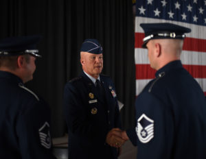"Gen. John ""Jay"" Raymond speaks with airmen following a change-of-command ceremony for Air Force Space Command Oct. 25 at Peterson Air Force Base, Colo. Raymond was previously the Air Force's Deputy Chief of Staff for Operations. Credit: A1C Dennis Hoffman/U.S. Air Force"