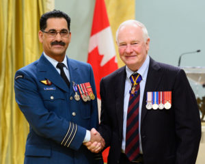 GG01-2016-0141-009 April 29, 2016 Rideau Hall, Ottawa, Canada.  Lieutenant-Colonel Abderrahim Bellahnid, M.S.M., C.D.  His Excellency the Right Honourable David Johnston, Governor General and Commander-in-Chief of Canada, presented Meritorious Service Decorations (Military Division) and Bravery Decorations to members of the Canadian Armed Forces (CAF) and allied forces at a ceremony at Rideau Hall, on Friday, April 29, 2016.  On this occasion, the Governor General presented 5 Meritorious Service Crosses (Military Division) and 18 Meritorious Service Medals (Military Division) to individuals whose specific achievements have brought honour to the CAF and to Canada. He also presented 1 Medal of Bravery to a CAF member who has performed an act of bravery in hazardous circumstances.  His Excellency presents the Meritorious Service Medal (Military Division) to Lieutenant-Colonel Abderrahim Bellahnid, M.S.M., C.D.  Credit: Sgt Ronald Duchesne, Rideau Hall, OSGG