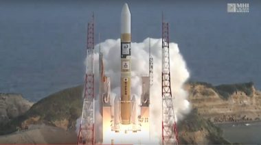 A Mitsubishi Heavy Industries H-2A rocket with the Himawari-9 weather satellite on board lifts off from Japan's Tanegashima Space Center at 3:20 p.m. local time Nov. 2. Credit: MHI video