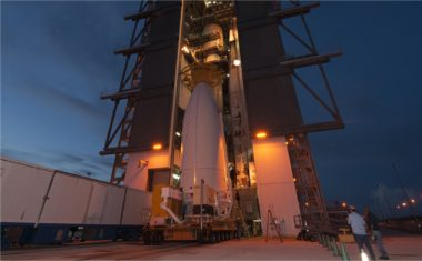 The U.S. Navy's fourth Mobile User Objective System (MUOS) satellite, encapsulated in a 5-meter payload fairing, is attached to an Atlas 5 booster at Cape Canaveral's Space Launch Complex-41, Aug. 19, 2015. Though the fourth satellite was launched successfully, the fifth satellite experienced problems while attempting to gain orbit. The Navy announced Nov. 3 that they have finally succeeded in getting MUOS-5 to an operational orbit. Credit:  Rick Naystatt/U.S. Navy