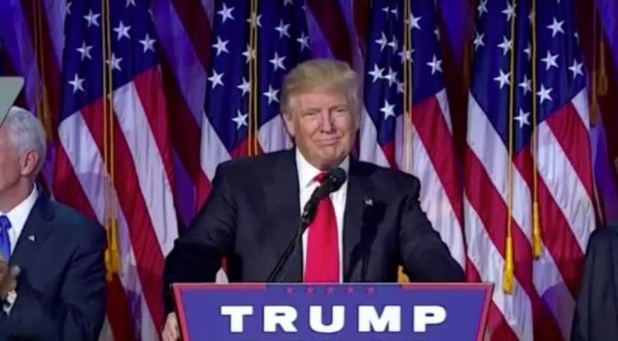 Donald Trump delivers his victory speech on Election Night 2016. Credit: CSPAN