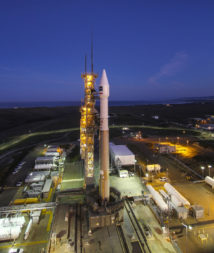 A United Launch Alliance Atlas 5 rocket stands ready for launch early Friday morning, carrying DigitalGlobe's WorldView-4 advanced imaging satellite. Credit: ULA