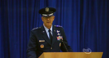 Gen. John Hyten, one of the Air Force's top space officers, took leadership of U.S. Strategic Command during a ceremony at Offutt Air Force Base, Nebraska, Nov. 3. Credit: Department of Defense