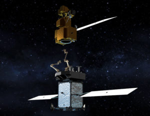 A NASA artist's concept of the Restore-L spacecraft approaching a satellite for refueling. Credit: NASA