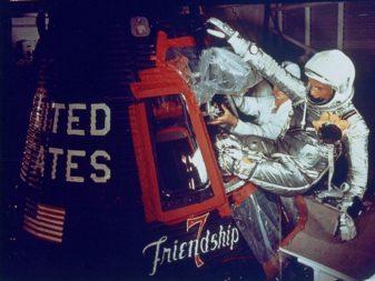 John Glenn entering capsule