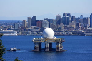The Missile Defense Agency currently relies mostly on terrestrial sensors, such as this Sea-Based X-Band Radar. But missile defense leaders said the Defense Department must shift more sensors into space to meet future challenges. Credit: MDA/LTC Steve Braddom