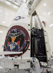 The Air Force's Space Based Infrared System (SBIRS) Flight 3 satellite is encapsulated in preparation for a Jan. 19 launch. Credit: Lockheed-Martin