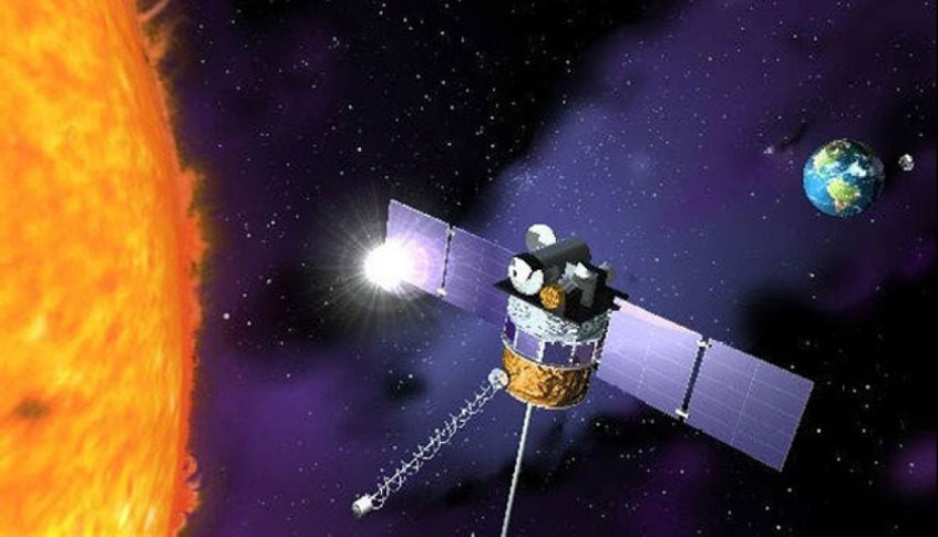 DSCOVR, launched in 2015 and declared operational in July 2016, is the primary satellite providing data needed for space weather warnings. Credit: NOAA artist's concept