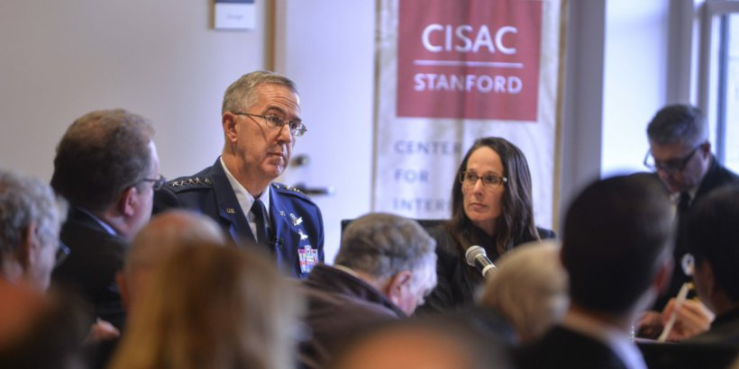 Air Force Gen. John Hyten, head of U.S. Strategic Command, speaks at Stanford University's Center for International Security and Cooperation in California, Jan. 24, 2017. Credit: Rod Searcey