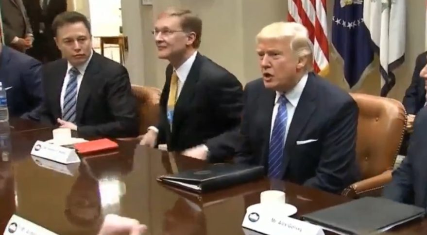 SpaceX CEO Elon Musk, left, was among a group of corporate executives meeting with U.S. President Donald Trump on Jan. 23. Credit: White House video still