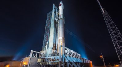 The ULA Atlas 5 rocket carrying the Air Force's SBIRS GEO-3 satellite sits on the pad ready for launch, but will have to wait at least another day after  the attempt was scrubbed. Credit: ULA