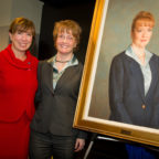 Former NASA Deputy Administrator Shana Dale (right) and then-NASA Deputy Administrator Lori Garver pose for a photo after the 2010 unveiling of Dale's official portrait. Credit: NASA/Bill Ingalls.