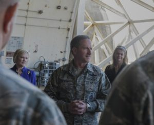Air Force Chief of Staff Gen. Dave Goldfein talks to Airmen from the 18th Aircraft Maintenance Squadron Nov. 4, 2016, at Kadena Air Base, Japan. Credit: Senior Airman Lynette M. Rolen/Air Force