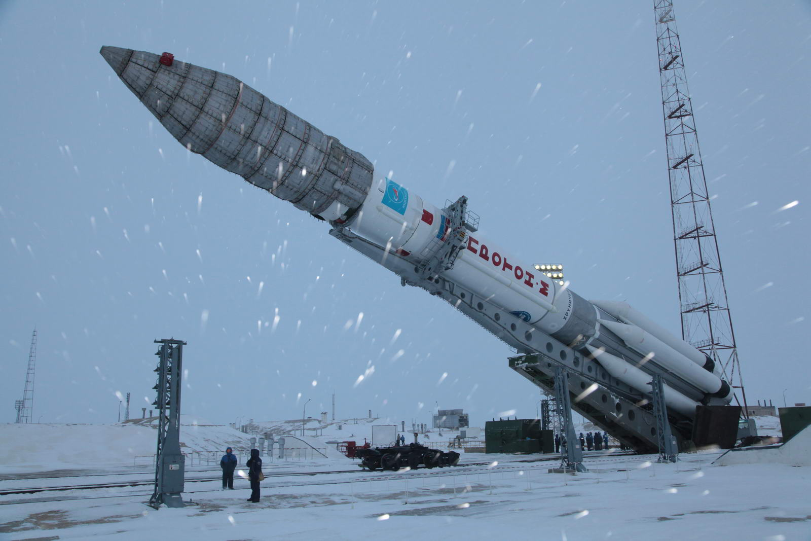 Proton rocket Roscosmos snow