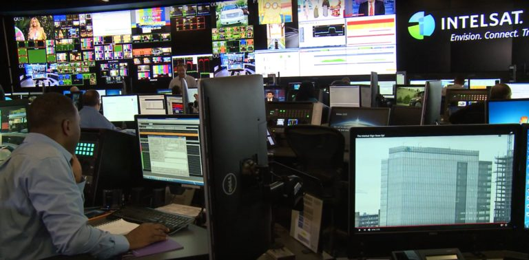 The satellite operations center at the Tysons Corner, Virginia headquarters of Intelsat, which operates a fleet of more than 50 commercial communications satellites. Credit: Intelsat video still