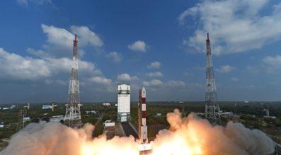 An ISRO Polar Satellite Launch Vehicle lifts off Feb. 14 carrying 104 satellites on a single rocket. Credit: ISRO