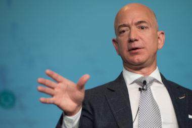 Jeff Bezos speaking March 7 at Satellite 2017 in Washington. Credit: Kate Patterson for SpaceNews