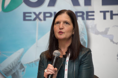 Debra Facktor Lepore, Ball's vice president and general manager of strategic operations and commercial aerospace, speaking at Satellite 2017. Credit: Kate Patterson for SpaceNews