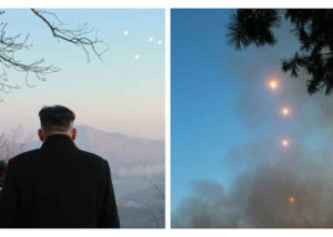 North Korean leader Kim Jong-un observes the March 7 test launch of four ballistic missiles. Credit: Rodong Sinmun