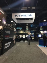 Antenna-maker Kymeta took over the prime location SES normally takes on the Satellite show's exhibit floor. Credit: SpaceNews/Debra Werner