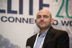 Peter Platzer, Spire chief executive, speaking at Satellite 2017. Credit: Kate Patterson for SpaceNews