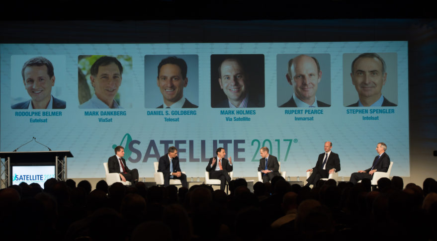 "Global satellite fleet operator SES, which did not exhibit at Satellite 2017, was not among the CEOs participating in the annual trade show's so-called ""elephant panel."" Credit: Kate Patterson for SpaceNews"