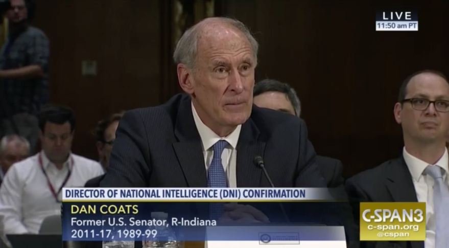 Former Senator Dan Coats, nominated to be the Director of National Intelligence, testifies before the Senate Select Committee on Intelligence. Credit: CSPAN