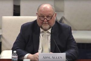 """We need to control the manufacture and web sale of [GPS]  jammers, which is pretty unabated right now,"" retired U.S. Coast Guard Adm. Thad Allen testified March 29 before a joint hearing on space threats and the implications for homeland security.  Credit: House Homeland Security Committee video"