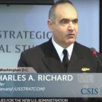 """While we're not at war in space, I don't think we could say we're exactly at peace either,"" Vice Adm. Charles Richard, STRATCOM vice commander, said March 23 at a conference in Washington. Credit: CSIS video"