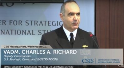 """""""While we're not at war in space, I don't think we could say we're exactly at peace either,"""" Vice Adm. Charles Richard, STRATCOM vice commander, said March 23 at a conference in Washington. Credit: CSIS video"""