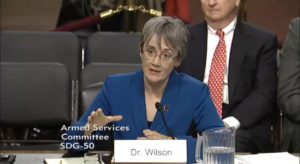 Air Force Secretary nominee Heather Wilson testifies before the Senate Armed Services Committee March 30. Credit: CSPAN