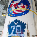 The Delta 4 rocket sported logos for the WGS 9 satellite and the Air Force's 70th anniversary. Credit: Air Force