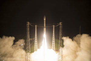 Sentinel-2B lifts off on a Vega launcher from Europe's Spaceport in French Guiana at 01:49 GMT on March 7. Credit: Stephane Corvaja/ESA
