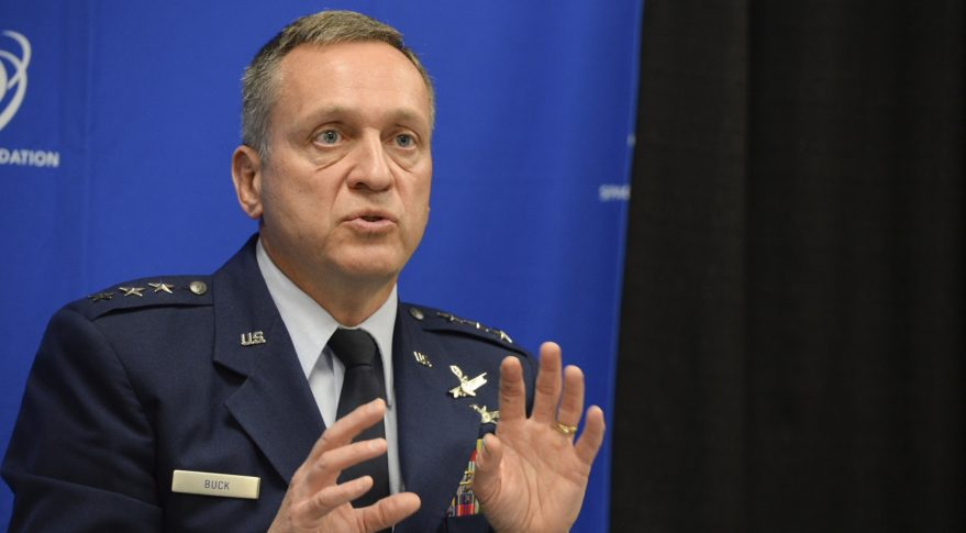 Lt. Gen. David Buck, commander, 14th Air Force and Joint Functional Component Command for Space, answers questions from reporters in Colorado Springs, Colo., April 6, 2017 at the 33rd Space Symposium. Credit: Dave Grim/U.S. Air Force