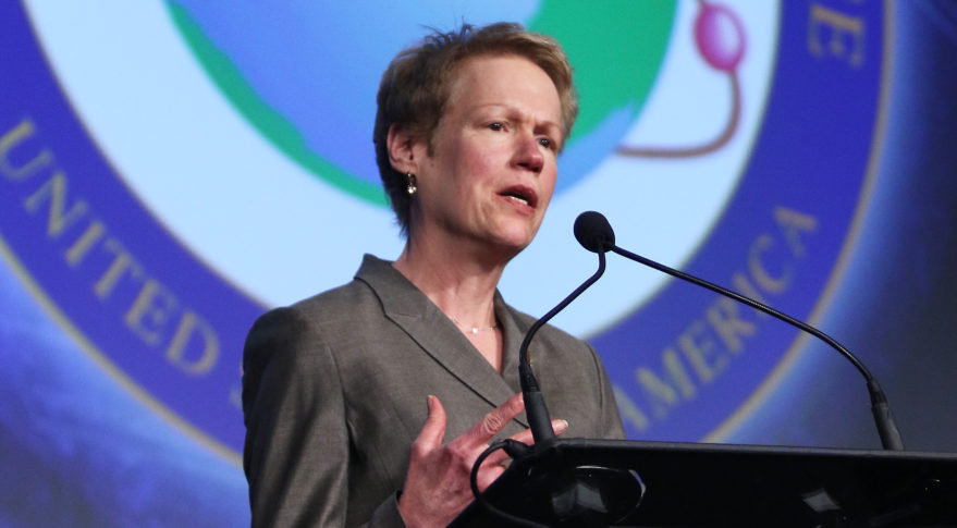 "In spite of emerging threats and the growing importance of space to national defense, NRO ""has not fared well in budget battles"" in recent years, NRO Director Betty Sapp said April 4 at the 33rd Space Symposium. Credit: Tom Kimmell"