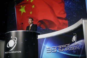 Yulong Tian, secretary-general of the China National Space Administration (CNSA), speaking  April 5 at the 33rd Space Symposium. Credit: Tom Kimmell