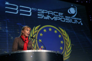 Elzbieta Bienkowska, the European Commission's lead space commissioner, speaking April 5 at the 33rd Space Symposium. Credit: Tom Kimmell