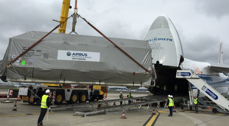 Eutelsat-172b, which left Toulouse, France, March 20 on an Antonov AR-124 transport plane for Cayenne, French Guiana, was returned to Airbus' Toulouse factory March 30. Credit: Airbus Defence and Space