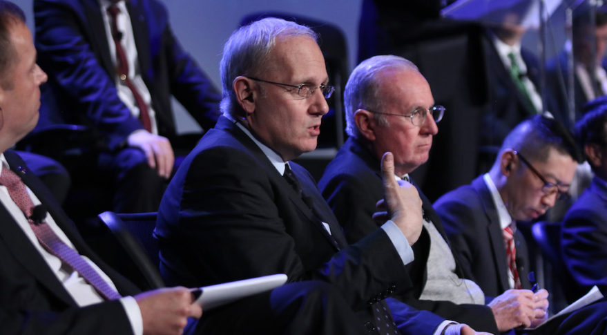 CNES President Jean-Yves Le Gall speaking Tuesday at the 33rd Space Symposium. Credit: Tom Kimmell for SpaceNews