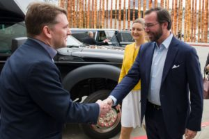 Planetary Resources CEO Chris Lewicki, left, greets Prince Guillaume, the hereditary grand duke of Luxembourg, during an April 13 visit to Seattle. The visit followed an April 12 stop in Silicon Valley. Credit:  Jean-Christophe Verhaegen via Spaceresources.lu