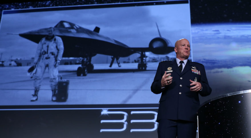 """Gen. John """"Jay"""" Raymond, who took over leadership of Space Command in October, speaking at the 33rd Space Symposium earlier this year . Credit: Tom Kimmell"""