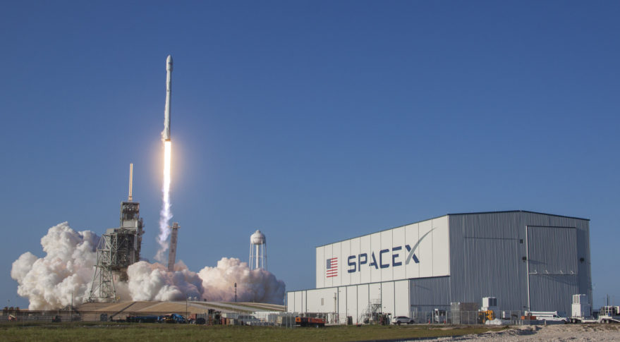 A Falcon 9 with a previously flown first stage lifts off March 30 carrying the SES-10 satellite. Credit: SpaceX