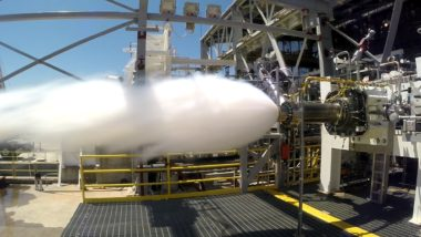 Aerojet Rocketdyne conducted a series of hot-fire tests on the preburner design for the AR1, keeping the program on schedule to be flight-ready by 2019, the company said. Credit: Aerojet Rocketdyne